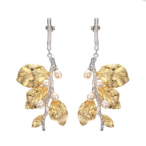 A.Brask - Hengende øreringer i hvite blomster - Øredobber