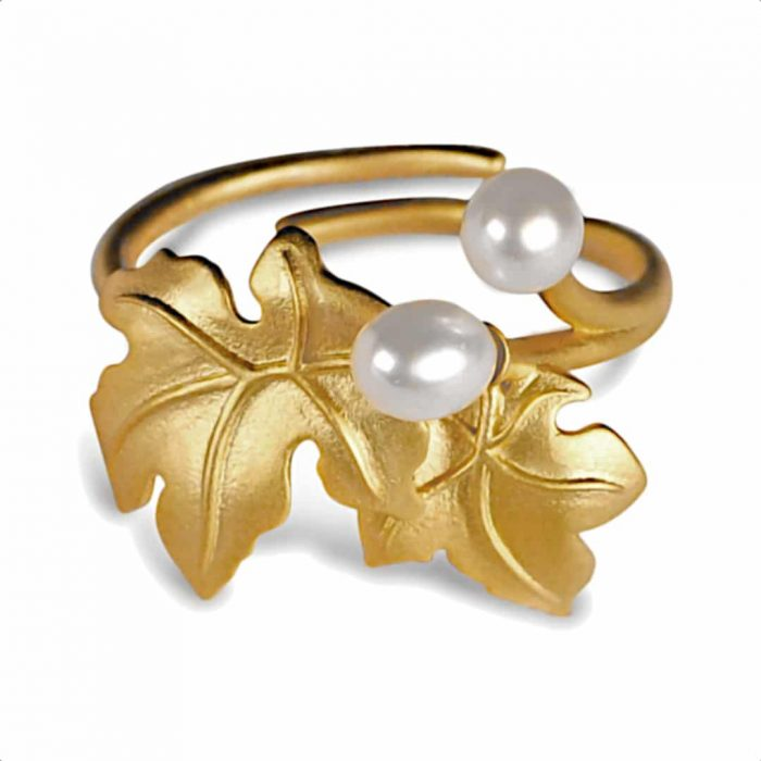 A.Brask - Blomstrende lønn justerbar ring - gullbelagt ring