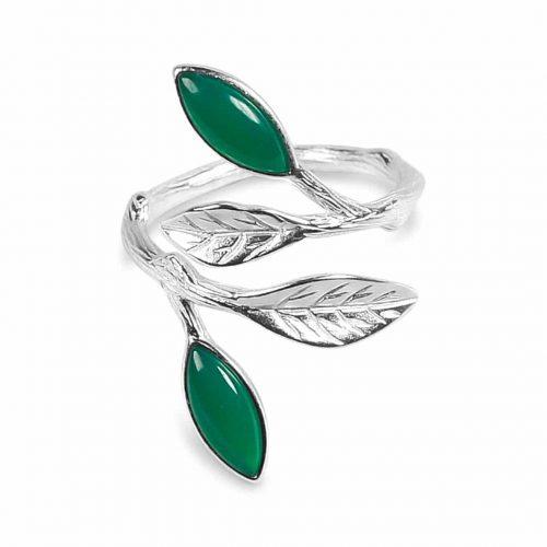 A.Brask - Blomstrende vårjusterbar ring - sølv - grønn - smaragd