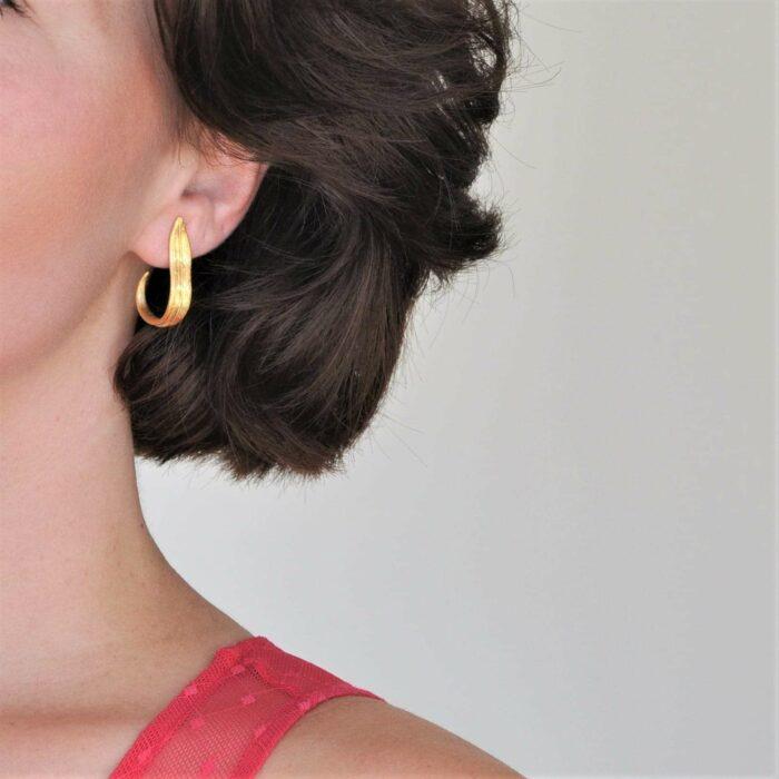 A.Brask - Tulipan løv forgyldt ørering - Ørering