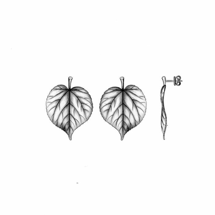 Lindetre blad øreringer - A.Brask